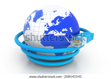 World with network cable, Global communication. 	 - stock photo