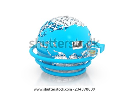 World with network cable, Global communication - stock photo