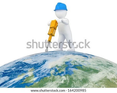 World Worker with jackhammer (clipping path included) Elements of this image furnished by NASA - stock photo