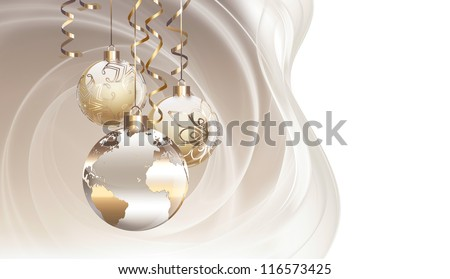 Worlds Christmas baubles background - stock photo