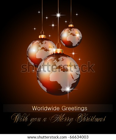 Worlds Christmas Baubles Background for Elegant Invitation Flyer or Brochure - stock photo
