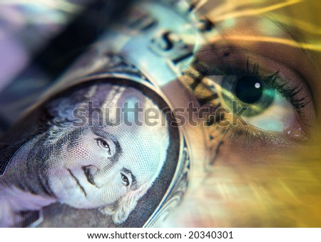Worlds Eye oversees US dollar bank note - stock photo