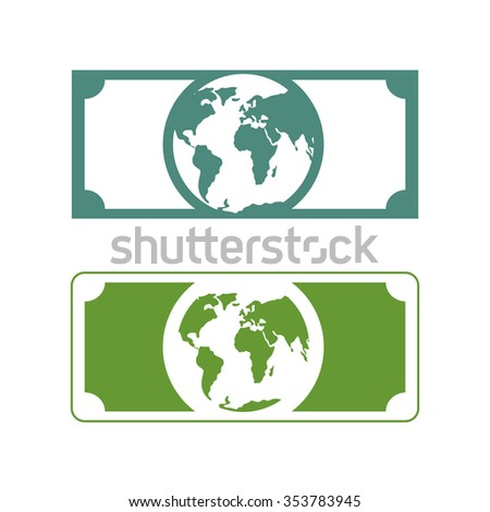Worlds money. Banknotes with planet Earth. Future of cash with picture of  Earth. Currency future - stock photo