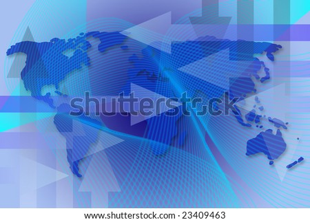 Worldwide business map with arrows an waves - stock photo