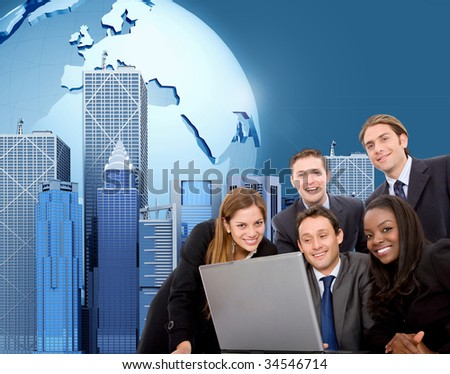 Worldwide business team on a laptop with an urban background - stock photo