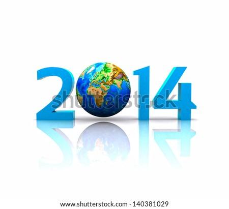 Worldwide..celebrates the New Year - 2014 - stock photo