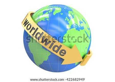 Worldwide concept, 3D rendering isolated on white background