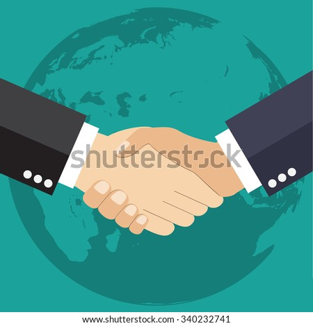 Worldwide cooperation concept - Business handshake with world map and connected user icons  Raster version.  - stock photo