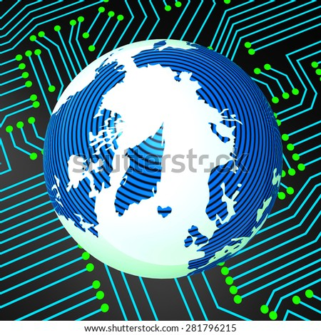 Worldwide Electronics Indicating Circuit Board And Earth - stock photo