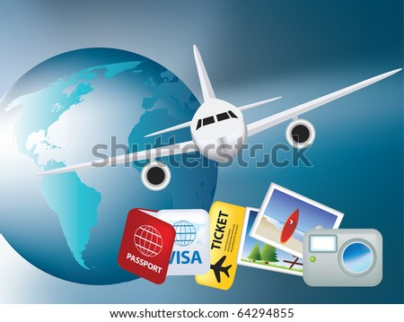 worldwide holiday and vacation colour illustration by plane - stock photo