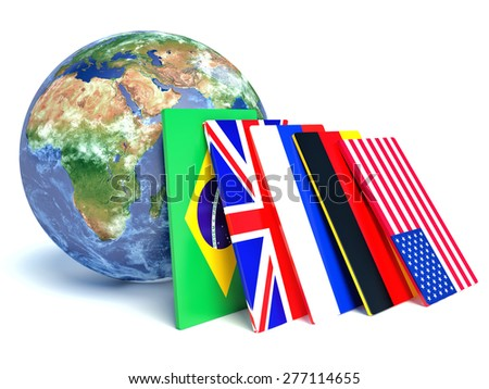 Worldwide international communication concept: cloud of colorful state flags and Earth globe isolated on white  - stock photo