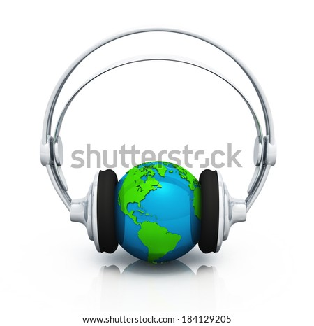 worldwide music concept with headphones 2