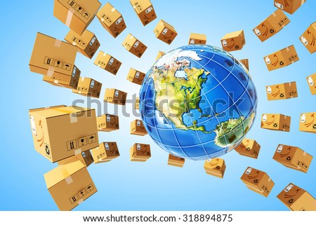 Worldwide purchases delivery and logistics concept, global parcels transportation business, packages around Earth globe on blue background (Elements of this image furnished by NASA) - stock photo