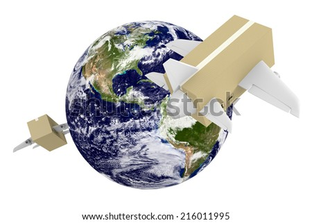 Worldwide shipping and airmail delivery with parcel airplanes, parts of this image furnished by NASA - stock photo