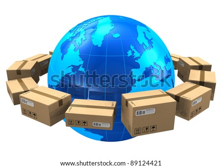 Worldwide shipping concept: row of cardboard boxes around blue Earth globe isolated on white background - stock photo