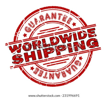 worldwide shipping stamp isolated on white background