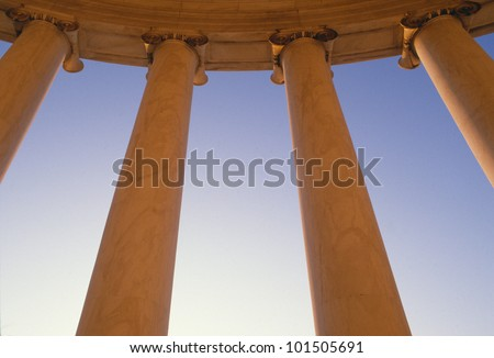 Worm's eye view of columns at U.S. Supreme Court, Washington D.C. - stock photo