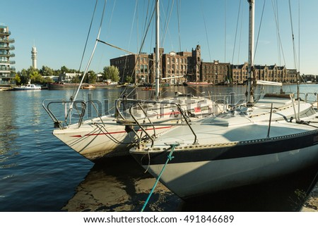 Wormerveer, HOLLAND - SEPTEMBER 25, 2016: Sunday morning on the river on a sunny day in Wormerveer in Netherlands
