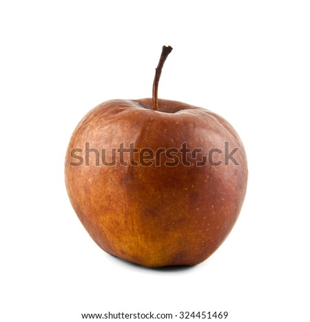wormy apple on a white background - stock photo