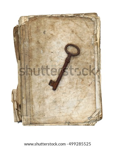 Worn and tattered book and old rusty key on white background