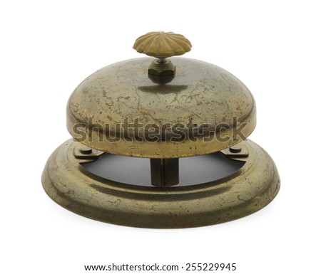 Worn Antique Service Bell Isolated on a White Background. - stock photo