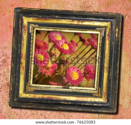 Worn art nouveau picture frame, with fade flower picture - stock photo