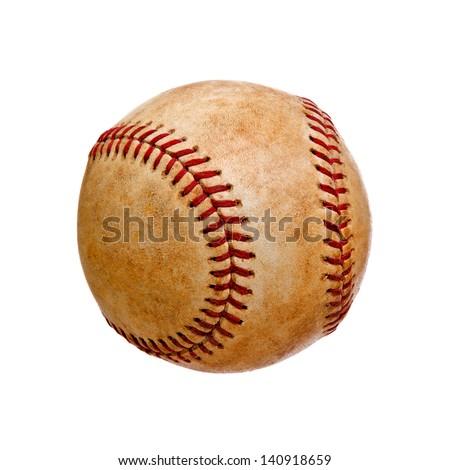Worn Baseball Isolated on White Background - stock photo