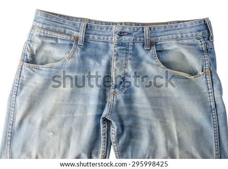 Worn blue denim jeans texture - stock photo
