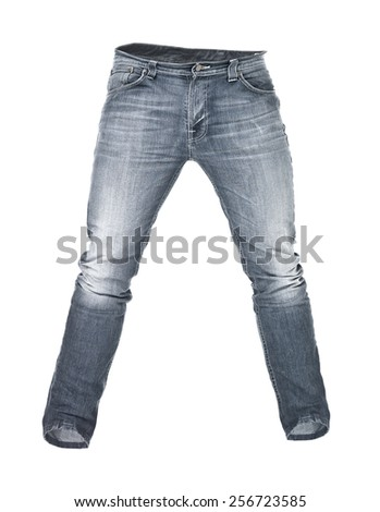Worn blue jeans isolated on white background - stock photo