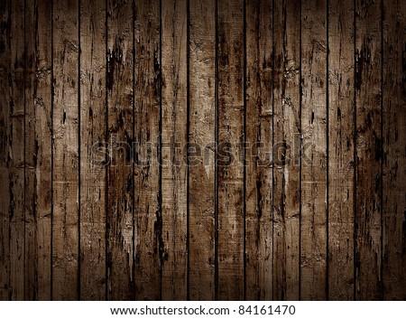 Worn brown wooden planking background. - stock photo