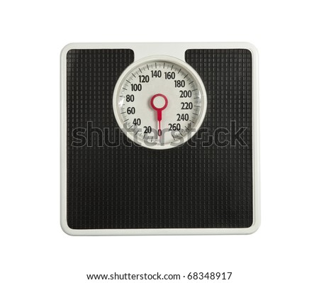 Worn but dependable bathroom weight scale. - stock photo