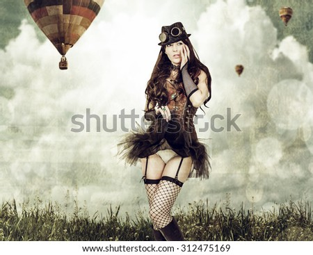 worn card in sepia retro style. Beautiful young steampunk woman wearing old-fashioned fantasy clothes outdoor. Balloons flying in sky in background