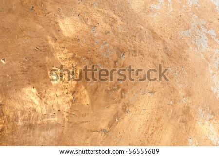 Worn Copper Surface with dents and scratches - stock photo