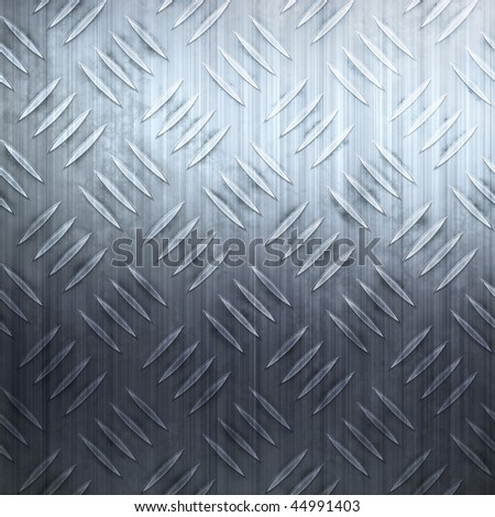 Worn diamond plate metal texture in a cool blue hue. - stock photo