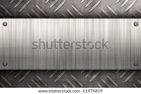 Worn diamond plate metal texture with a brushed aluminum plate riveted to it.  Makes a great layout or business card template. - stock photo