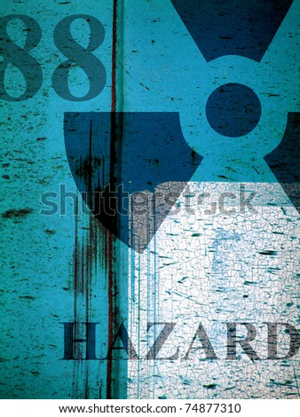 worn grunge metal industrial collage with radiation symbol and word hazard