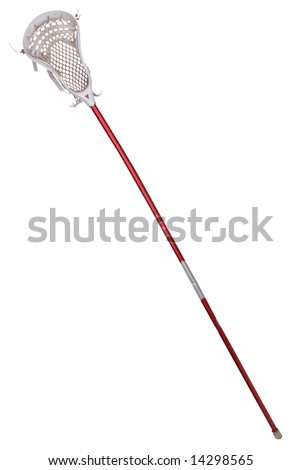 Worn lacrosse stick isolated over white - stock photo