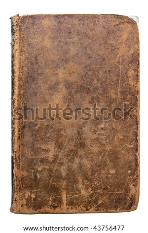 Worn leather book Cover isolated on white - stock photo