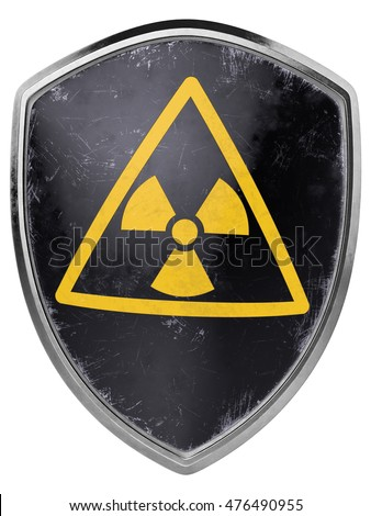 Worn nuclear shield icon. 3D Illustration.