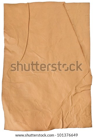 worn old brown paper with scratches. isolated on a white background - stock photo