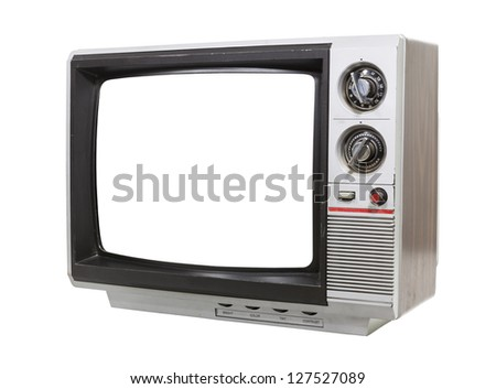 Worn old grungy portable television isolated with clipping path. - stock photo