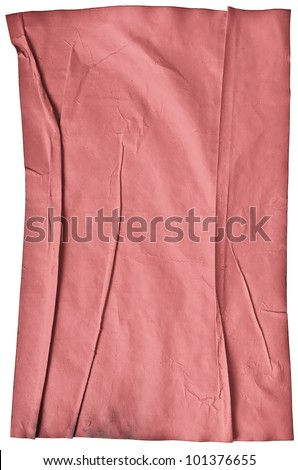 worn old red paper with scratches. isolated on a white background - stock photo