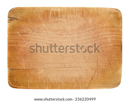 Worn out kitchen wooden board with room for copyspace - stock photo