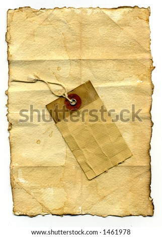 worn paper with label - stock photo