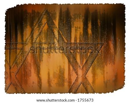 Worn Star of David - stock photo