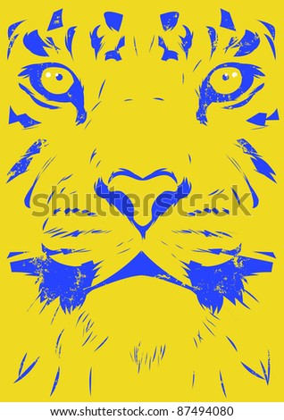 Worn tiger illustration - stock photo