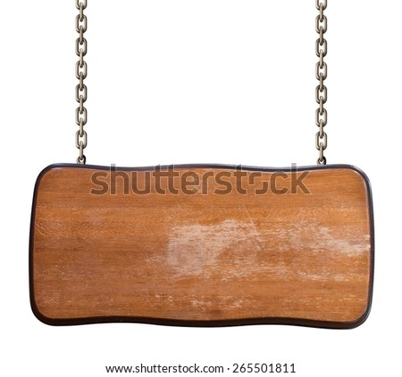 worn wood signboard on chain isolated on white  - stock photo
