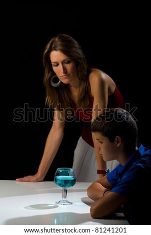 Worried adult facing an incipient alcohol problem - stock photo