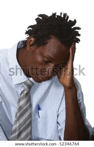 Worried African businessman with dreadlocks hairstyle - stock photo