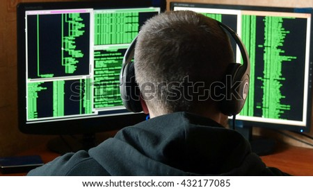 Worried and angry hacker is upset and stressed. Criminal hacker penetrating network system from his dark hacker room.